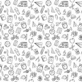 Back to school seamless pattern background set. Back to school doodle seamless pattern background Royalty Free Stock Photos