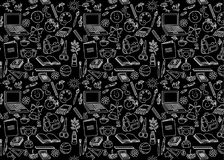Back to school seamless pattern on black. Background Stock Photos
