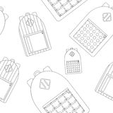Back to school seamless pattern with city backpacks stock illustration