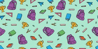 Back to school seamless pattern doodle hand drawn colorful cute drawing for kids. Fun supplies art illustration pencil book background notebook chemistry vector illustration
