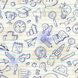 Back to school seamless pattern on a exercise book Stock Image