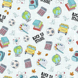 Back to school seamless pattern featuring school life objects. And supplies Stock Photos