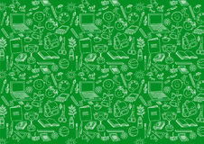 Back to school seamless pattern on green. Background Royalty Free Stock Images