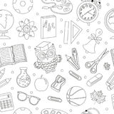 Back to school seamless pattern, hand drawing, doodle style. Stationery endless background. Education Line repeating Stock Photography