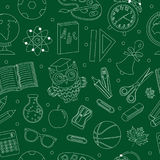 Back to school seamless pattern, hand drawing, doodle style. Stationery endless background. Education Line repeating Royalty Free Stock Images