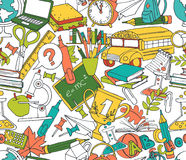 Back to school seamless pattern of kids doodles with bus, books Stock Photos