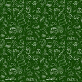 Back to school seamless pattern of kids doodles with bus, books, Stock Photo