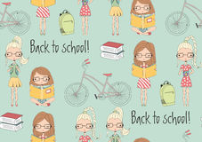 Back to school seamless pattern with school girls, bicycle and b Royalty Free Stock Photography