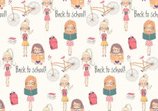 Back to school seamless pattern with school girls Royalty Free Stock Photography