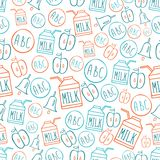 Back to school Seamless pattern with symbols alphabet milk pack bell and apple Royalty Free Stock Photo