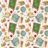 Back to school seamless pattern with various study stock illustration