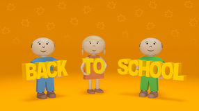 Back to school season. Smiling children hold words on orange background. Happy smiling children hold words on orange background with shapes of autumn yellow Stock Photography
