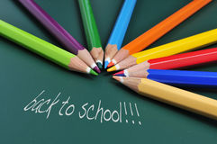 Back to school. Sentence back to school and some pencil crayons of different colors on a green chalkboard Royalty Free Stock Photos