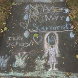 Back to School sentiment with Sidewalk Chalk Royalty Free Stock Photos