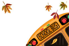 Back to School in September. With school bus and autumn leaves. Isolated over white background. Vector file saved as EPS AI8 is now pending inspection Royalty Free Stock Photo
