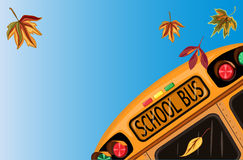 Back to School in September. With school bus and autumn leaves.Vector file saved as EPS AI8 is now pending inspection Royalty Free Stock Photos