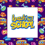 Back to school series. Vector education design. White board, seamless background. Back to school lettering, graduation hat, yellow bus and chemical tube, leaves Stock Photography