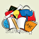 Back to School Set 1. Color drawing of school supplies on the floor Stock Image