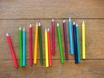 Back to school with set of all color pencils. Set of the color pencil on the wood table with ligthing Royalty Free Stock Photo
