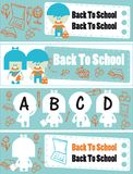 Back to school  set of banners. Back to school - set of banners with group of school childrens and Hand-Drawn Back to School Sketchy Notebook Doodles Vector Royalty Free Stock Photos