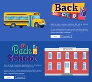 Back to School Set of Banners on Blue Background. Back to school set of banners with text  on blue background. Vector illustration of yellow bus along with brick Royalty Free Stock Image