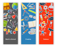 Back to school set of banners. Concept education, creative Royalty Free Stock Image