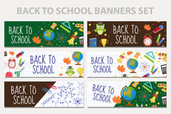 Back to school set of banners, template with space for text for your design. Education collection long board, poster Royalty Free Stock Photos