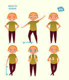 Back to school. Set of a boy in different poses. Vector illustration. Cartoon flat style Royalty Free Stock Photography