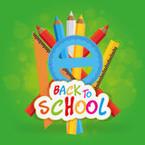Back to school. Set of different school supplies on a colored background Royalty Free Stock Photos
