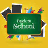 Back to school. Set of different school supplies on a colored background Stock Photo