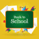 Back to school. Set of different school supplies on a colored background Royalty Free Stock Photography