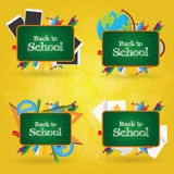 Back to school. Set of different school supplies on a colored background Royalty Free Stock Images
