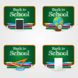 Back to school. Set of different school supplies on a white background Royalty Free Stock Photos