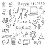 Back to school. Set doodle elenents. Hand draw office equpment Royalty Free Stock Photo