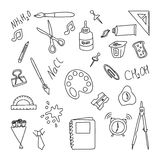 Back to school. Set doodle elenents. Hand draw office equpment Royalty Free Stock Images