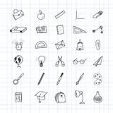 Back to school. Set of drawing  elements with a sheet in a box. for education with endolar accessories. Vector illustration. Stock Photography