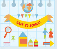 Back to school set with flat style icons Royalty Free Stock Photo