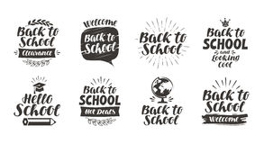 Back to school, set icons. Handwritten lettering. Label vector illustration Stock Images