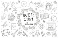 Back to school set of icons, line style. Education collection of doodle design elements, outline. Coloring page for Stock Photo