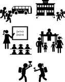 Back to school set of icons on a white background. Back to school silhouette and illustration of school bus, school building and classroom Stock Illustration