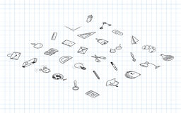Back to school. Set isometric isometric of drawing  elements with a sheet in a box. for education with endolar accessories. Royalty Free Stock Photos