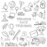 Back to school set of kids doodles with bus, books, computer, bl Stock Images