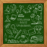 Back to school set of kids doodles with bus, books, computer and Stock Image