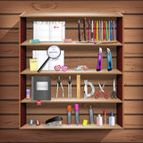 Back to School set with office stationery objects in closet Royalty Free Stock Images
