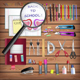 Back to School set with office stationery objects Stock Photography