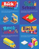 Back to School Set of Posters with Inscriptions stock illustration