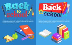 Back to School Collection of Posters with Text Royalty Free Stock Photos