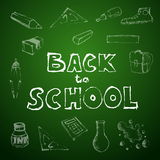 Back to school set of school doodle illustrations Stock Images