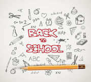 Back to school - set of school doodle illustrations Stock Images
