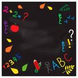 Back to school - set of school doodle vector illustrations on blackboard background Royalty Free Stock Photo